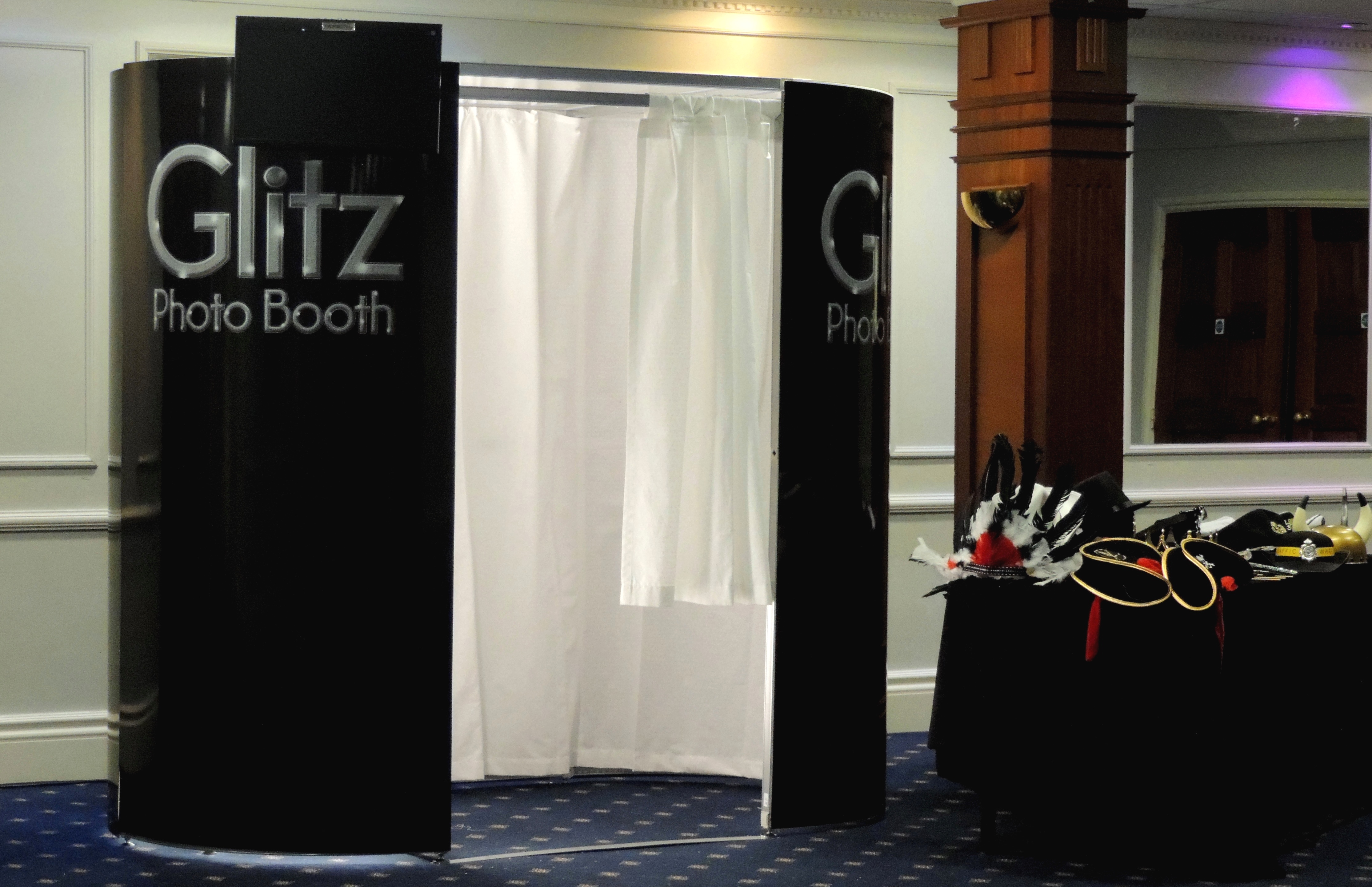 Black booth with White Curtains